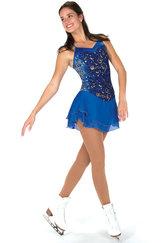 Blå klänning med guldglitter
