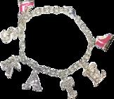 Berlockarmband medrosa eller turkos skridskor